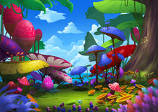 Illustration: Exotic Forest with Strange and Beautiful Things. Royalty Free Stock Images