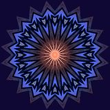 Illustration with exploding star rays. Background with symmetrical exploding star rays in blue and rose. Pattern for greetings card or wallpaper Stock Photography