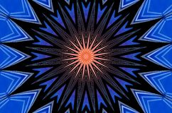 Illustration with exploding star rays. Background with symmetrical exploding star rays in blue and rose. Pattern for greetings card or wallpaper Stock Images