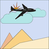 Illustration of the explosion of an airplane/ sky and sand Stock Image
