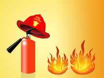Illustration of extinguisher. Objects for fireman Stock Images