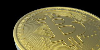 Illustration extrêmement détaillée et réaliste de la haute résolution 3D Bitcoin Image libre de droits