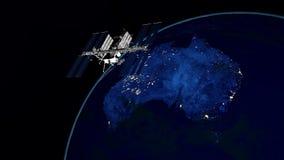 Illustration extrêmement détaillée et réaliste de la haute résolution 3D d'Australie la nuit Tiré de l'espace illustration libre de droits