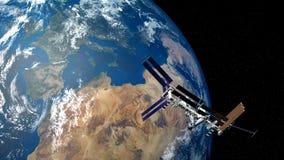 Illustration extrêmement détaillée et réaliste de la haute résolution 3D d'ISS - Station Spatiale Internationale et terre Tiré de Image libre de droits