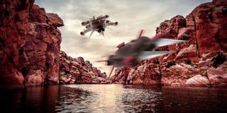 Illustration extrêmement détaillée et réaliste de la haute résolution 3D de deux vaisseaux spatiaux volant par des canyons sur un illustration de vecteur
