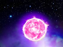 Illustration of space star. Illustration of extragalactic system, enlarged view in the Universe stock illustration