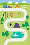 Illustration extérieure campante de vecteur d'infographics Photos stock