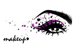 Illustration of eye makeup and brow on white background. Illustration  of beautiful eye makeup and brow on white background Royalty Free Stock Photos