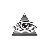 Illustration of eye in the pyramid, in the style of tattoos Royalty Free Stock Photo