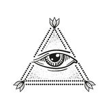 Illustration of eye in the pyramid, in the style of tattoos Royalty Free Stock Images