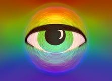 Illustration Eye on rainbow or spectrum background Royalty Free Stock Image