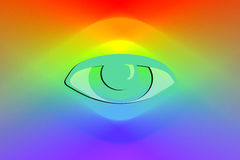 Illustration Eye on rainbow or spectrum background Royalty Free Stock Photography