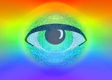 Illustration Eye on rainbow or spectrum background Royalty Free Stock Photos