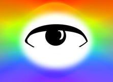 Illustration Eye on rainbow or spectrum background Stock Photo