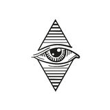 Illustration of eye in the rhombus, in the style of tattoos Stock Photos