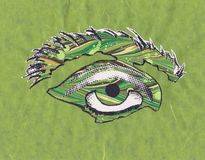 Illustration of an eye in shades of green mixed media, copy space, horizontal aspect royalty free stock photos