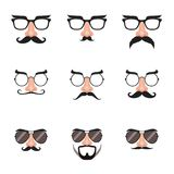 Fake Nose and Glasses Set with Mustache and Eyebrows. Illustration of eyeglasses with fake nose, mustache and eyebrows Stock Images