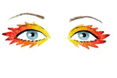 Illustration of eyes wearing flames-shaped makeup. Digital drawing of a pair of blue eyes, wearing strong, colorful, flame-inspired makeup vector illustration