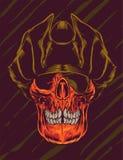 Illustration fâchée de vecteur de pirate de crâne Photos stock