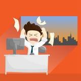 Illustration fâchée occupée de mode de vie de bande dessinée d'homme de salaire de temps de travail Illustration Stock