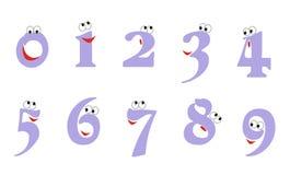 Illustration för Ð-¡ artoon av nummer från noll till nio med ögon och ett leende Symbolen ställde in för att räkna utbildning: no stock illustrationer