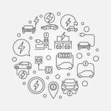 illustration för översikt för All-elkraft bil rund Symbol för vektor EV stock illustrationer