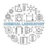Illustration för översikt för kemiskt laboratoriumvektorbegrepp rund vektor illustrationer