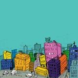 illustration för 3 stad vektor illustrationer