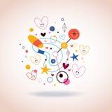 Illustration för abstrakt konst med gulliga hjärtor Arkivbild