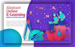 Illustration för abstrakt online-lära med livliga teman Utbildningsprogram för online-lärande hjälpregering, student och te vektor illustrationer