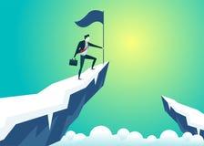Illustration för affärsfolk av flaggan för håll för affärsmanöverkantberg royaltyfri illustrationer