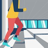 Illustration för affärsmankarriärutveckling, manlig klättratrappa royaltyfri illustrationer