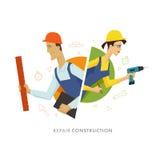 Illustration för arbetarman- och kvinnliganvändaresymbol Royaltyfri Fotografi