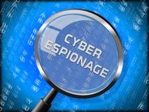 Illustration för attack 3d för Cyber för Cyberspionage brottslig vektor illustrationer