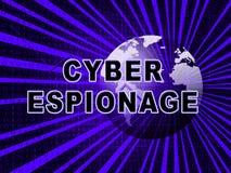 Illustration för attack 3d för Cyber för Cyberspionage brottslig royaltyfri illustrationer