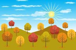 Illustration för Autumn Landscape bakgrundsvektor royaltyfri illustrationer