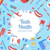 Illustration för bakgrund för hygien för tänder för vektorlägenhetstil med den vanliga cirkeln i mitt med stället för text stock illustrationer