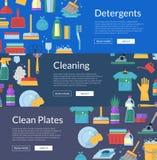 Illustration för baner för rengöringsduk för symboler för vektorlokalvårdlägenhet stock illustrationer