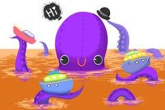 Illustration för barn: Den gigantiska stora bläckfisken säger Hello till dig! Arkivbilder