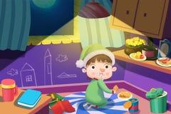 Illustration för barn: Den hungriga pojken får stjäler upp till någon mat på natten, men fångades i handlingen! stock illustrationer