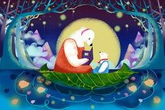 Illustration för barn: Den lilla björnen lyssnar till hans mamma för att berätta berättelsen Arkivfoto