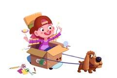 Illustration för barn: Den lilla hunden, är vi i utrymme nu! En pojkes infall stock illustrationer
