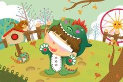 Illustration för barn: Komm spela kurragömma med mig royaltyfri illustrationer