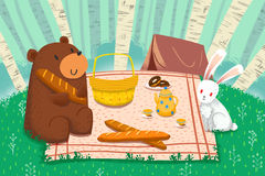 Illustration för barn: Våren kommer, de bra vännerna, björn, och kanin, startar en lycklig picknick Royaltyfri Foto