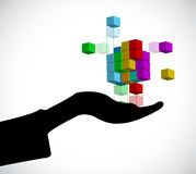 illustration för begrepp för byggnadsbegreppskub vektor illustrationer