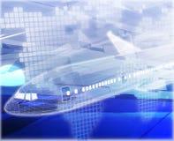 Illustration för begrepp för flygresaflygplanabstrakt begrepp digital royaltyfri illustrationer