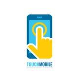 Illustration för begrepp för mall för mobiltelefonvektorlogo Smartphone idérikt tecken Mobiltelefonsymbol Teknologi för handlagbl Royaltyfri Bild