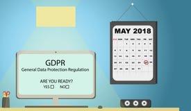 Illustration för begrepp för reglering GDPR för skydd för allmänna data - 25 Maj 2018 Kontorsskrivbord med kalendern royaltyfri illustrationer
