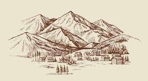 Illustration för berglandskapvektor royaltyfri illustrationer