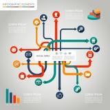Illustration för beståndsdelar för social massmediaInfographic mall grafisk. Fotografering för Bildbyråer